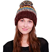 keepwin Mujer Multicolor Warm tapas de invierno de punto de esquí Beanie cráneo gorro de ganchillo con pompón, mujer, café