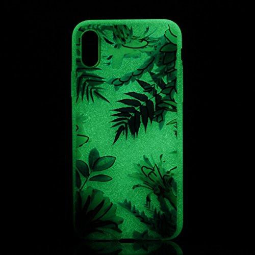 inShang iPhone X 5.8 inch Custodia [Trasparente cover iPhone X 5.8 inch] [luminoso nel buio], comoda Cover posteriore di case di stile di protezione Floating leaves