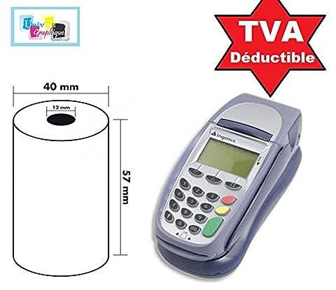 sachet de 5 rouleaux, bobines cartes bancaire, papier thermique 57 x 40 x 12 mm pour terminal de paiement, calculatrice