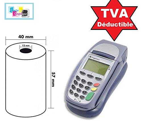 Lot de 20 - Bobine carte bancaire thermique 57 x 40 x 12 m -papier thermique pour CB 57 x 40 x 12 mm - Rouleaux machine carte (TPE)- marque UNIVERS GRAPHIQUE - TVA récupérable