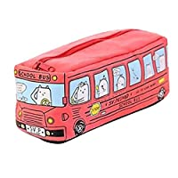 Aomili Students Kids Cats School Bus Pencil Case, Cute Design Pouch Coin Cosmetics Stationery Purse Bag