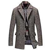 Azruma Herren warm Wollmantel Kurzmantel Winter Jacke Business Slim Fit Herrenmantel Business Wolle Mantel Revers Schnalle Cardigan Mantel Jacken