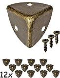 FUXXER - 12x Antik Möbel Ecken, abgerundet | Beschläge für Kisten Boxen Möbel Regal Tisch | Vintage Messing Antik Optik | inklusive 36 Schrauben