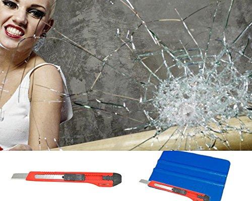 10,52€/m² Splitterschutz Fensterfolie Transparent Klar 100 micron stark UV Schutz Einbruchshemmend. (1m x91cm Rollenbreite)