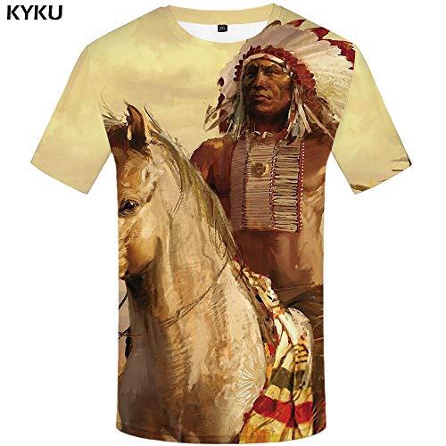 KYKU Indianer T-Shirt Männer Weiß Feder T-Shirt Hip Hop Anime Kleidung Charakter 3D Druck T-Shirt Punk Rock Mens Kleidung Sommer (Punk-rock-kleidung Für Frauen)