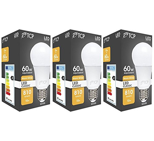 3 x TCP 10w - 60w E27 ES Edison Screw GLS Warm White LED Light Bulb 810lm 2700K (60w Golf-lampe)