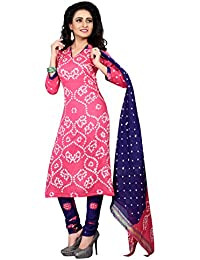 Taboody Empire Hanging Pink & Purple Satin Cotton Handi Crafts Bandhani Work With Straight Salwar Suit For Girls...