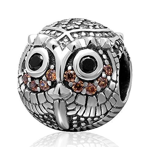 Chouette en argent sterling 925avec pierre CZ noir et transparent authentique. Animaux Charms Perles pour bracelet chaîne collier européenne