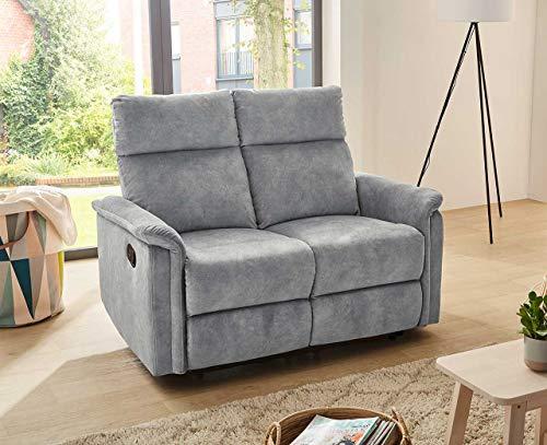 lifestyle4living 2 Sitzer Sofa in grauem Velour mit praktischer Relaxfunktion, verstellbares Funktionssofa zum relaxen und genießen