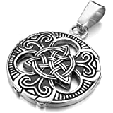 MunkiMix Stainless Steel Pendant Necklace Silver Black Irish Celtic Knot Triquetra Gothic Men ,23 inch Chain