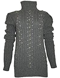 PHILIPP PLEIN Damen Designer Woll Pullover - BLACK PEARL -