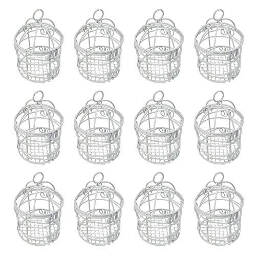 12 Jaulas Decorativas Pequeñas,Φ5.5x8cm,Color Blanco,Ideal Decoracion Para Boda de novios,Bautizos de niñas y niños-Blanco