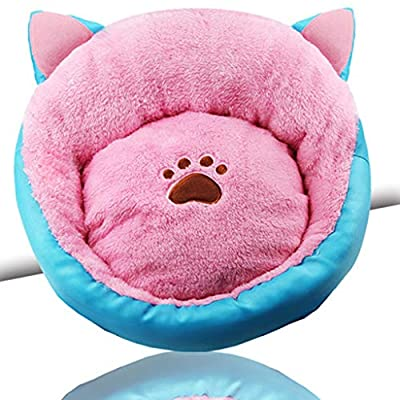 WWWWW Cats And Dogs Soft Warm Thickening Nest Cat Ears Decorative Kennel Warm Thick Cat Litter Removable Wash Pad Soft Breathable Pet Nest (50 * 50cm) Pet bed from WWWWW