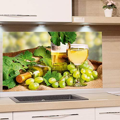 GRAZDesign Küchenrückwand Wein Grün - Spritzschutz Küche Glas Herd - Glasbild als Wandschutz / 80x50cm