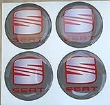 GTBTuning Nabenkammen-Set mit 3D-Effekt für Seat, Seat-Logo aus Resinat, für Alu-Felgen, 3M-Aufkleber, 4 Stück, grau