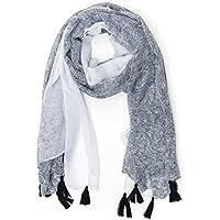 ManuMar Schal Farbverlauf Ornament mit Fransen Schal Damen Schal Tuch Sommer Frühling Geschenk Freundin Damen
