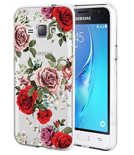 Galaxy Express 3 Case, Galaxy Luna Case, Galaxy J1 2016 Case BAISRKE Slim  Shockproof Clear Floral Pattern Soft Flexible TPU Back Cove for Samsung