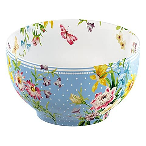Katie Alice English Garden Cereal Bowl Blue Spot - A traditional, tried and tested stoneware mixing bowl with angled panel to rest on worktops, making mixing easier.