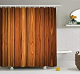 ewtretr Rustic Shower Curtain, Vertical Wooden Planks Image Cottage Cabin Life in Countryside Theme, 60 * 72inch, Pale Caramel and Orange Beautiful