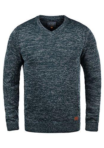 Leichte Wolle-pullover (Blend Dansel Herren Strickpullover Feinstrick Pullover Mit V-Ausschnitt Und Melierung, Größe:XL, Farbe:Navy (70230))