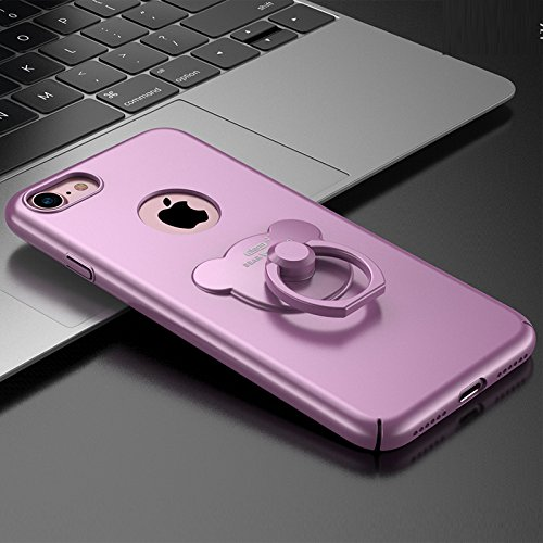 Iphone 7 Case , Koala group® Creative Phone case with Winnie the ring bracket Case Cover for Iphone 7 (Gold) Purple