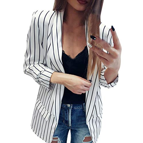 Blazer Kostüm Gestreifte - Vovotrade Long Blazer Kragenlos Damen Frauen Schwarze weiße Gestreifte Wasserfall Coat Freizeitjacke Blazer Damen Blazer Jacke Mantel Herbst Winte