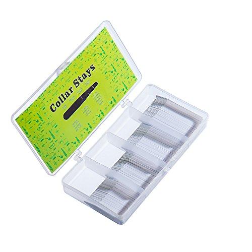 200weißw Kunststoff-Kragenstäbchen in einer geteilten Box, 4Größen, Deluxe Edition, für Herrenhemden -