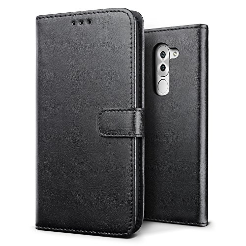 SLEO Huawei Honor 6X/Huawei Honor 6 Plus Hülle, Retro PU Lederhülle Wallet Deckel mit Kartensteckplätze Tasche für Huawei Honor 6X/Huawei Honor 6 Plus - Tiefschwarz