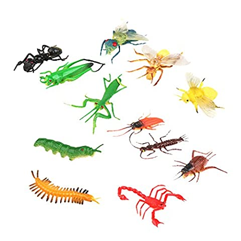 Lot de 12pcs Mini Insectes Artificiels en