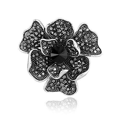 DaoRier Brosche Pin Strass Ansteckernadel Sicherheitsnadel Vintage schwarze Blumen für Frauen Kleid Kleidung Dekorative Pin (Pins Vintage Und Broschen)