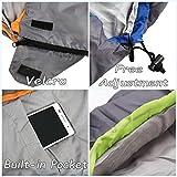 GEERTOP® Erwachsene Schlafsack Warm Leichter, 220x85 cm, 0 to 12 ℃, Kragen und Kapuze mit Kordelzug mit kleinstem Packmaß, Für Outdoor Camping Wandern (Green, Groß) -