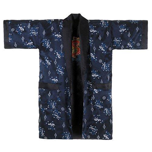 Princess of Asia Japanischer Wende-Kimono Satin Morgenmantel für Damen & Herren mit Drachen-Stickerei Dunkelblau