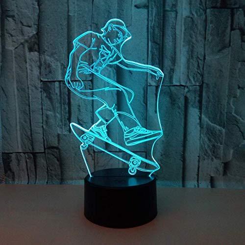 3D Illusion Nachtlampe, Led Skateboarden Nachtlicht Für Kinder Kinder Familie Ferienhaus Dekoration Valentinstag Geschenk