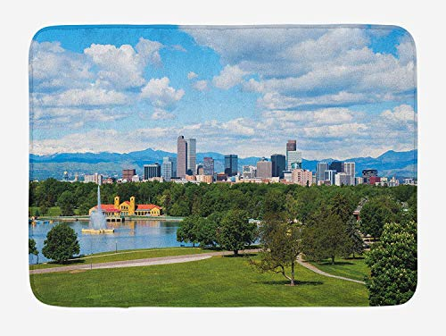 h Mat, City Park at Denver Colorado Downtown Tree and Architecture Sunny Panorama, Plush Bathroom Decor Mat with Non Slip Backing, 23.6 x 15.7 Inches, Sky Blue Fern Green ()