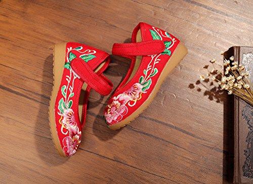 KAFEI Lady bestickt Mädchen Kind Sehne unten flachen Boden tuch Herbst Absatz 4-12 Jahre alt, rot, (Red Kind Pailletten Schuhe)
