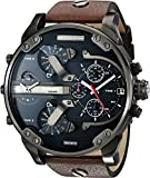 Diesel FALL 2014 DZ7314 57mm Stainless Steel Case Brown Calfskin Mineral Men's Watch