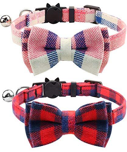 Joytale Katzenhalsband mit Sicherheitsverschluss und Glöckchen, Katzenhalsbänder mit Schleife Krawatte für Mädchen und Junge Kitten, 2 Pack