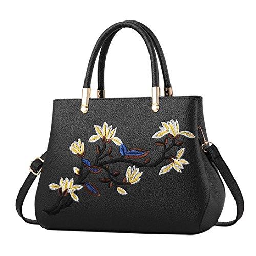 tianranrt Fashion Frauen Blume Muster Umhängetasche Schultertasche Handtasche Tragetaschen schwarz 27cm(L)*14cm(W)*22cm(H) (Stoff Handtaschen Geldbörsen Tragetaschen Wallets)