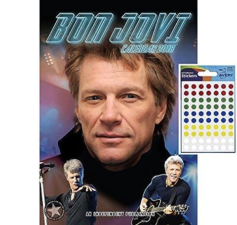 Bundle - 2 Items - Bon Jovi 2018 Wall Calendar - Closed Size : 42 x 29.5 cm (16.5 x 11.5 Inches) and a Sheet of 70 Multi Colour Self Adhesive Dot