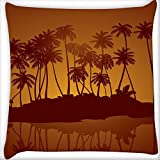 Snoogg Tropical Night Vector Background Digitally Printed Cushion Cover Pillow 14 x 14 Inch