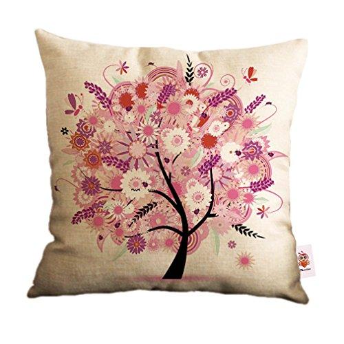 Nunubee Baumwolle Leinen Wohnkultur Werfen Sofa Auto Kissenbezug Kissenbezug Baum 5