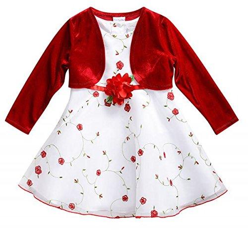 Traum Baby-Petticoatkleid inkl. Samt-Bolero~Mädchenkleid~in weiß/rot von Youngland Gr. 74,80,86,92,98,104 Größe 86 (Kleid Youngland)