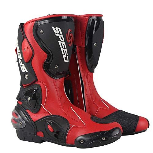 OVEA Stivali Moto, Professionale Traspirante Impermeabile Stivali Motociclista, PRO Stivali Stivalett Moto Sportivo Pelle Pista Shift Stivali,Rosso,44
