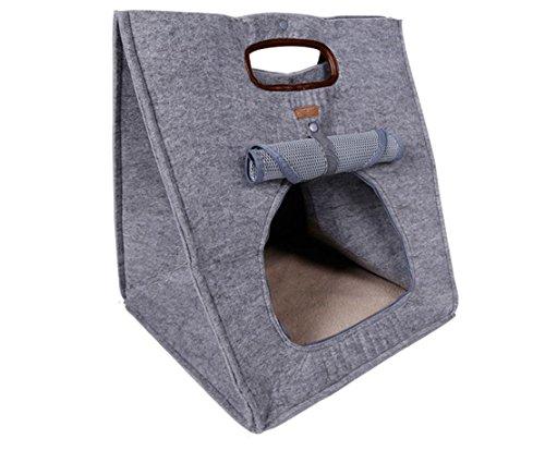 Hubulk 3 in 1 funzionale del cane del cucciolo del gatto della fossa di scolo Bed Natura Pet Carrier Portable out rapidi viaggio 48 * 40 * 40cm (Grigio)