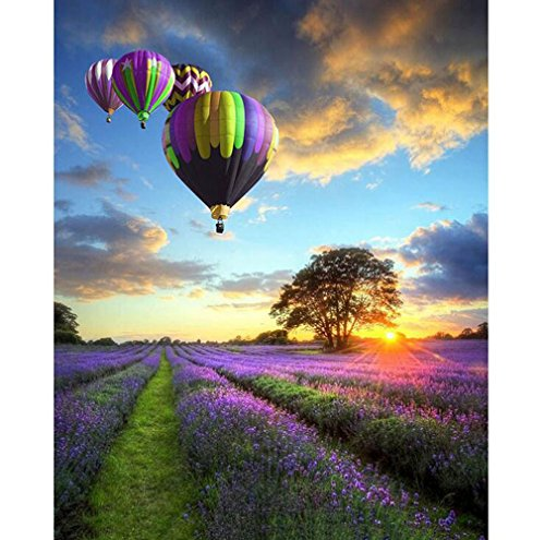 Malen nach Zahlen Kit, Diy Ölgemälde Zeichnung Lavendel Garten Ballon Leinwand mit Pinsel Dekor Dekorationen Geschenke - 16 x 20 Zoll mit Rahmen