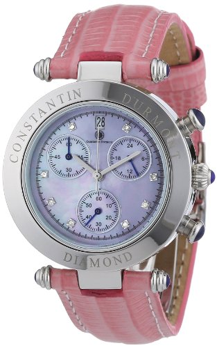 Constantin Durmont Women's Quartz Watch Visage CD-VISL-QZ-LT-STST-PKD with Leather Strap