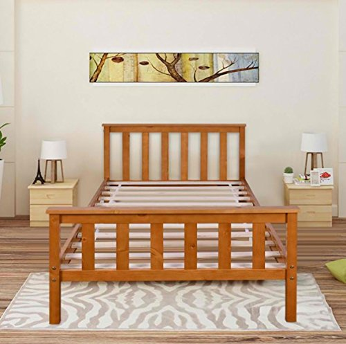 Single Size Solid Wood Bed Frame - Available In White Or Honey Finish - Wooden Slats (Honey)