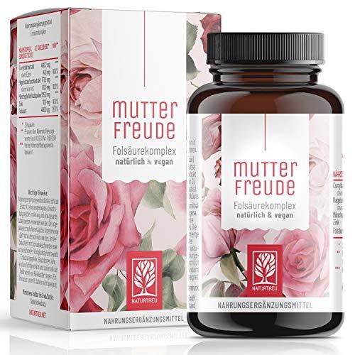 NATURTREU® Folsäure Mönchspfeffer Kapseln - Bei Kinderwunsch - Vitex Agnus Castus + Vitamin B9 hochdosiert - Vegan - Hilfsmittel für Frauen vor und während der Schwangerschaft - 90 Kapseln