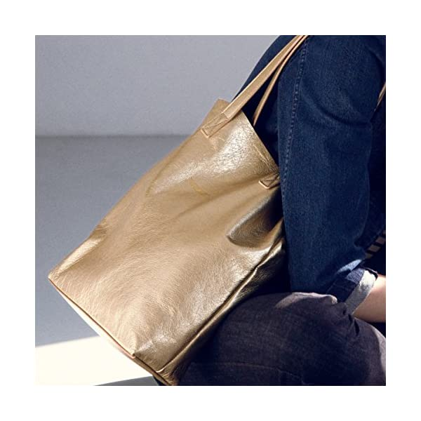 Gold Leather Tote - handmade-bags