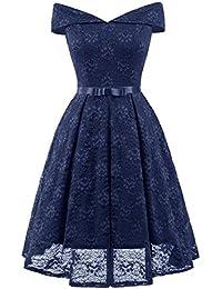 Vestido de Mujer,ZARLLE Vestido Coctel A-línea Hi-Lo Elegante Mujer Flor Encaje